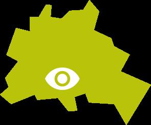 Vereinfachter Umriss von Berlin. Die Position des Blindenhilfswerks Berlin e.V. ist durch ein Auge markiert.