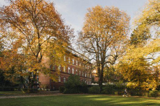 Ansicht vom Gelände aus auf das Gebäude in der Rothenburgstraße 15 im Herbst. Eine Person läuft mit Führstock auf der Laufstrecke.