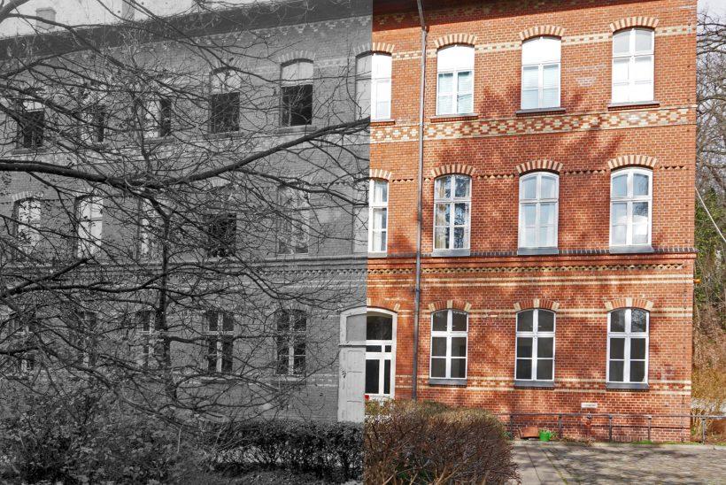 Man sieht das Gebäude in der Rothenburgstaße 15. Die linke Hälfte zeigt das Gebäude, wie es 1928 aussah. Die rechte Seite besteht aus einer Aufnahme von heute.