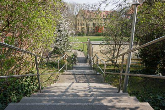 Blick vom oberen Bereich der Treppe auf das Gelände des Blindenhilfswerkes Berlin e.V. Im Hintergrund ist die Zeune-Schule zu sehen.