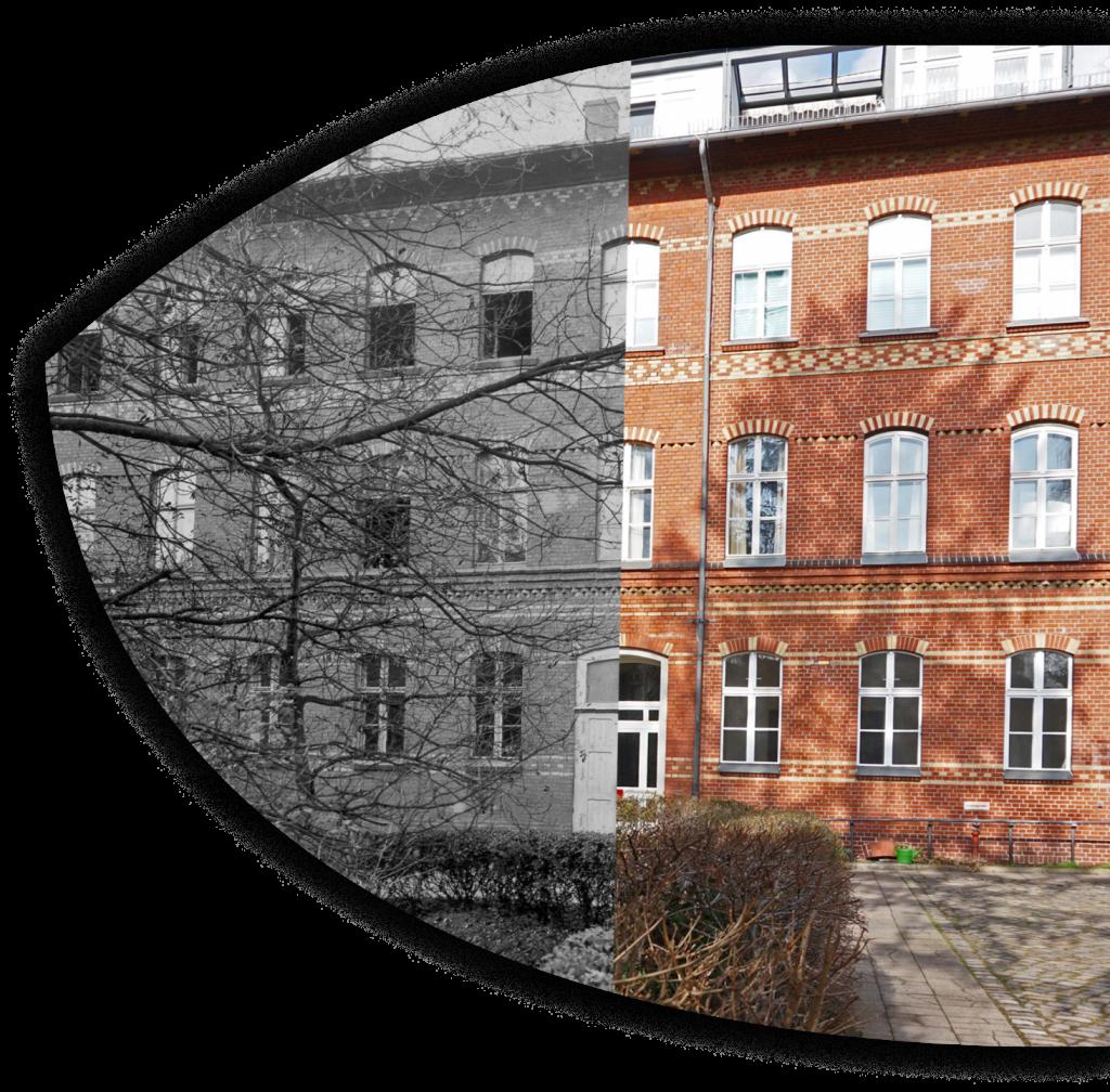 Das Bild ist bis zur Mitte schwarzweiß. Darauf zu sehen ist das Gebäude der Rothenburgstraße 15 in früheren Jahren. Die zweite Hälfte ist farbig und zeigt den jetzigen Zustand.