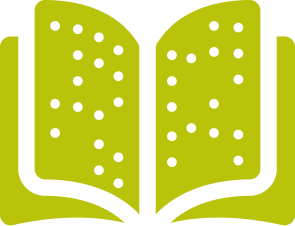 Grafische Darstellung eines aufgeschlagenen Buches mit Punktschrift
