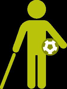 Grafischer Darstellung einer Person, die einen Langstock hält und einen Ball trägt.