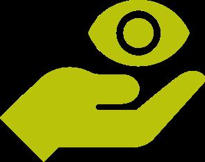 Grafische Darstellung einer Hand über die ein Auge schwebt