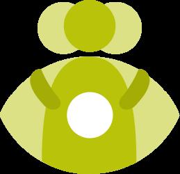 Grafische Darstellung von drei Personen, deren Körper zusammen ein Auge bilden.