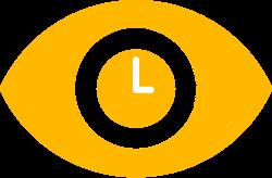 Grafische Darstellung einer Uhr in Augenform