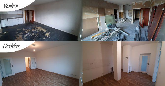 Collage aus vier Bildern. Die oberen zwei Bilder zeigen eine Wohnung im unrenovierten Zustand. Die unteren beiden Bilder zeigen die Wohnung im renovierten Zustand.